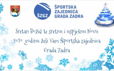 Sretan Božić i uspješnu Novu 2020. godinu želi Vam Športska zajednica Grada Zadra!